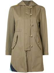 Red Valentino Wave Detail Parka Coat Women Cotton 36 Green
