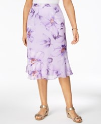 Alfred Dunner Roman Holiday Printed Flared Skirt Lilac