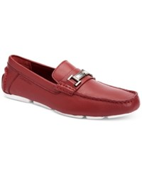 Calvin Klein Men's Magnus Tumbled Leather Driver Loafers With Bit Men's Shoes Red
