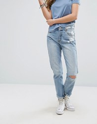 Pull And Bear Ripped Knee Mom Jeans Blue