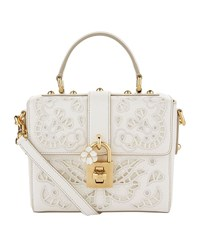 Dolce And Gabbana Lace Padlock Nappa Leather Top Handle Bag Female White