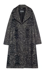 Alberta Ferretti Embroidered Tweed Oversized Coat Black