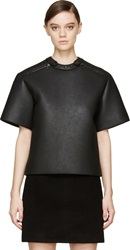 S By S Studio Black Leather Studded T Shirt