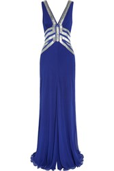 Amanda Wakeley Embellished Silk Chiffon Gown Blue