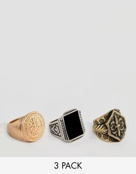 Pull And Bear Pullandbear Pack Of 3 Signet Rings Silver