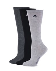 Sperry Three Pack Bamboo Marled Crew Socks White Silver