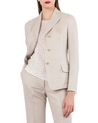 Akris Wool Cotton Pique 3 Button Blazer Jacket Off White