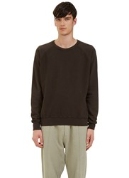 Les Basics Reverse Side Loopback Fleeced Crew Neck Sweater Brown