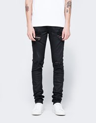 Off White Diag Slim 5 Pockets Rips Black Clay Wash