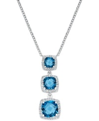 Macy's London Blue Topaz Three Stone Pendant Necklace In Sterling Silver 4 Ct. T.W.