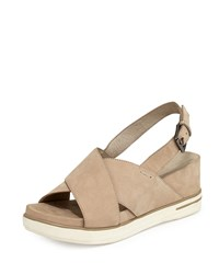 Eileen Fisher Good Crisscross Wedge Sandal Barley Brown Women's