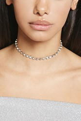 Forever 21 Circle Rhinestone Choker Silver Clear