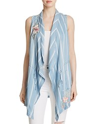 Billy T Embroidered Striped Vest Blue White Stripe