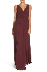 Amsale Women's 'Justine' Double V Neck Chiffon Gown Ruby