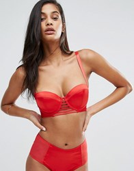 Wolf And Whistle Red Satin Cut Out Front Bra Red