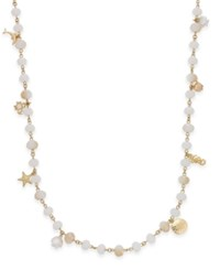 Charter Club Gold Tone Sea Charm Beaded Long Necklace Only At Macy's