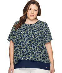 Michael Michael Kors Plus Size Hayden Cut Out Top Taxi Yellow Women's Clothing Multi