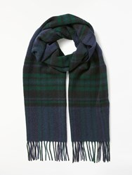 Barbour Moons Lowerfell Lambswool Check Scarf Navy Green