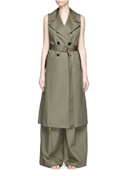 Tome Belted Cotton Trench Coat Green