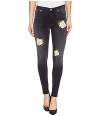 Hudson Nico Mid Rise Ankle Super Skinny Five Pocket Jeans With Rose Applique In Confronted Confronted Women's Jeans Blue