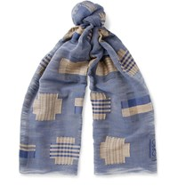 Loewe Embroidered Cotton Voile Scarf Storm Blue