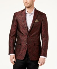 Tallia Men's Big And Tall Slim Fit Burgundy Paisley Sport Coat Dark Red