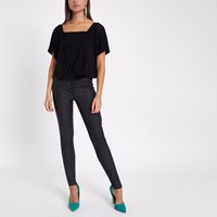River Island Black Double Layer Batwing Bodysuit