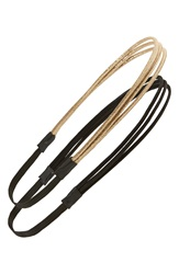 Bp Triple Strand Headbands Set Of 2 Black Gold