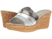 Onex Balero Pewter Silver Leather Combo Women's Wedge Shoes