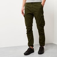 River Island Mens Green Slim Fit Cargo Trousers