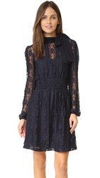 Red Valentino Tie Neck Pleated Dress Blue