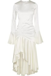Caroline Constas Monique Ruched Stretch Silk Satin Gown White