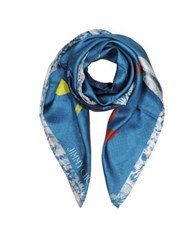 Jimmy Choo Shoes And Signature Printed Silk Square Scarf Blue