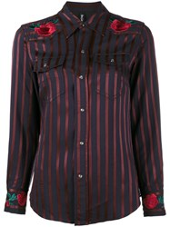 Adam Selman Rose Embroidered Stripe Cowgirl Shirt Viscose Blue
