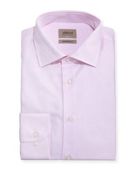 Armani Collezioni Modern Fit Micro Pattern Dress Shirt Light Pink
