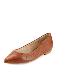 Seychelles Wellknown Ostrich Embossed Leather Flat Whiskey