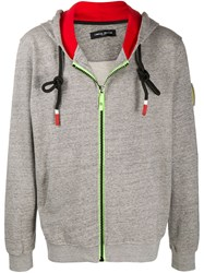 Frankie Morello Sleeve Patch Zip Up Hoodie 60