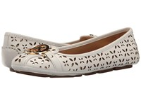 Michael Michael Kors Fulton Moc Optic White Pale Gold Vachetta Floral Perf Mirror Metallic Women's Slip On Shoes Optic White Pale Gold Vachetta Floral Perf Mirror
