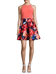 Adrianna Papell Floral Print Pleated Halter Dress Pink