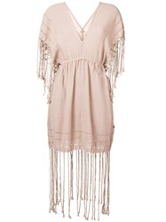 Caravana Fringed Short Dress Pink