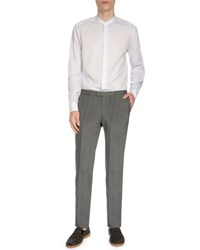 Dries Van Noten Slim Fit Plaid Trousers Gray
