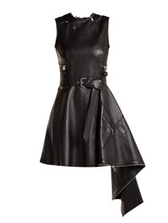 Alexander Mcqueen Asymmetric Lambskin Leather Dress Black