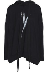 Ann Demeulemeester Voile Paneled Printed Cotton Jersey Hooded Sweatshirt Black