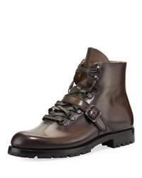 Berluti Brunico Venezia Leather Hiking Boot Gray