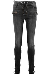 Unravel Project Lace Up High Rise Skinny Jeans Black