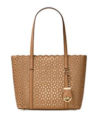 Michael Michael Kors Floral Perforated Saffiano Leather Tote Acorn