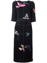 Dolce And Gabbana Bird Applique Detail Dress Black