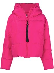 Bacon Cloud Hooded Puffer Jacket Pink And Purple