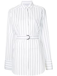 Strateas Carlucci Striped Belted Shirt White