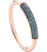 Monica Vinader Stellar 18Ct Rose Gold Plated Vermeil And Blue Diamond Ring